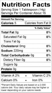 Hot Sauce Nutritional label