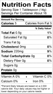 Medium Nutrition Label