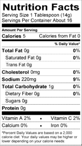 Garlic Sauce Nutritional label