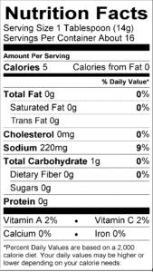 Garlic Sauce Nutritional label